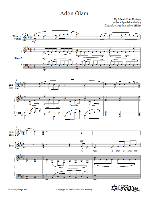 Marshall Portnoy Adon Olam sheet music preview music notes and score for SATB including 9 page(s)