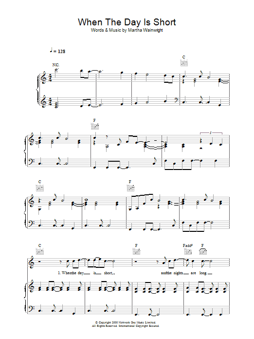 Martha Wainwright When The Day Is Short sheet music preview music notes and score for Piano, Vocal & Guitar including 6 page(s)