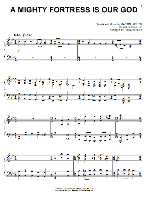 Download Martin Luther 'A Mighty Fortress Is Our God' Digital Sheet Music Notes & Chords and start playing in minutes