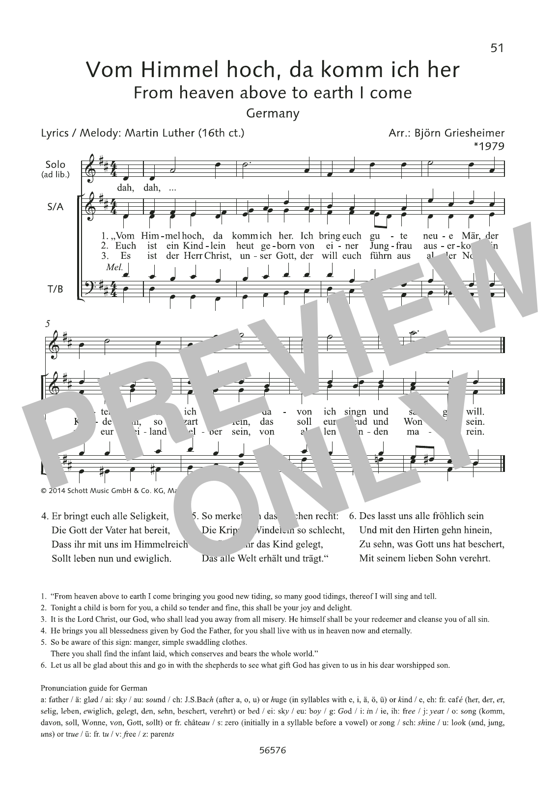 Martin Luther Vom Himmel hoch, da komm ich her sheet music preview music notes and score for Choir including 1 page(s)