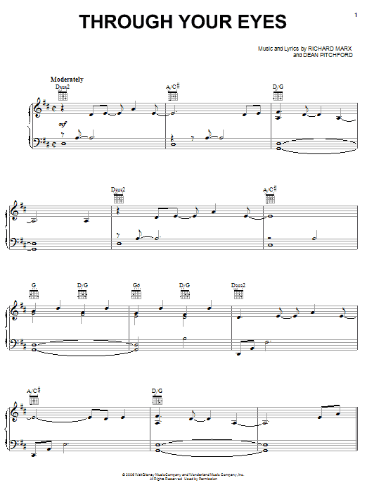 Martina McBride Through Your Eyes (from Bambi II) sheet music preview music notes and score for Piano, Vocal & Guitar (Right-Hand Melody) including 8 page(s)