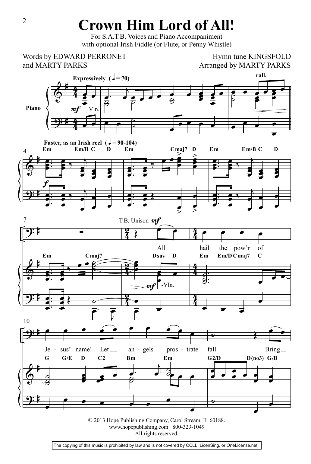 Marty Parks Crown Him Lord Of All! sheet music preview music notes and score for SATB Choir including 11 page(s)