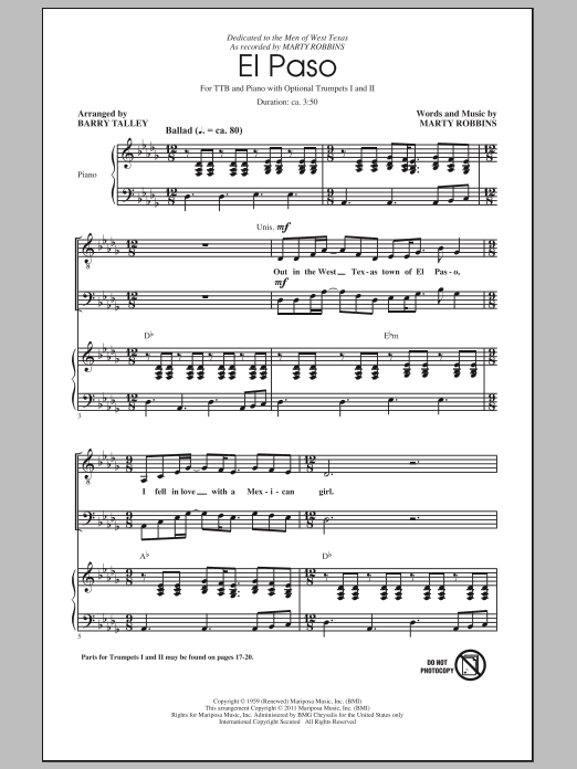 Marty Robbins El Paso (arr. Barry Talley) sheet music preview music notes and score for TTBB including 19 page(s)