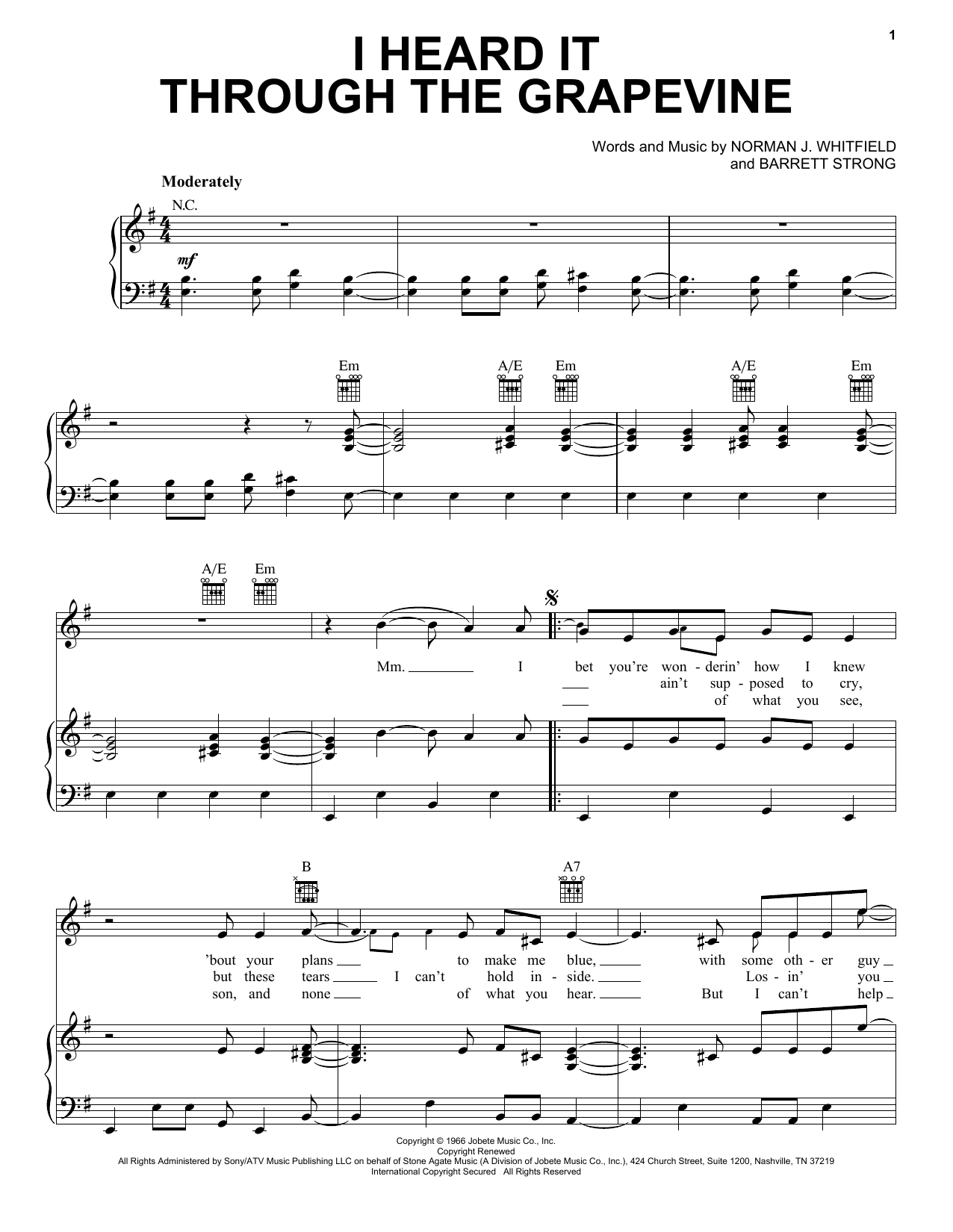 Download Marvin Gaye 'I Heard It Through The Grapevine' Digital Sheet Music Notes & Chords and start playing in minutes