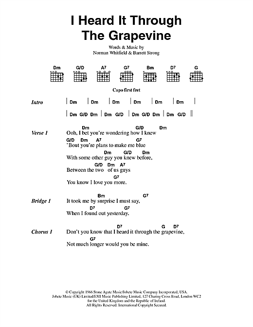 Marvin Gaye I Heard It Through The Grapevine sheet music preview music notes and score for Guitar Tab including 4 page(s)