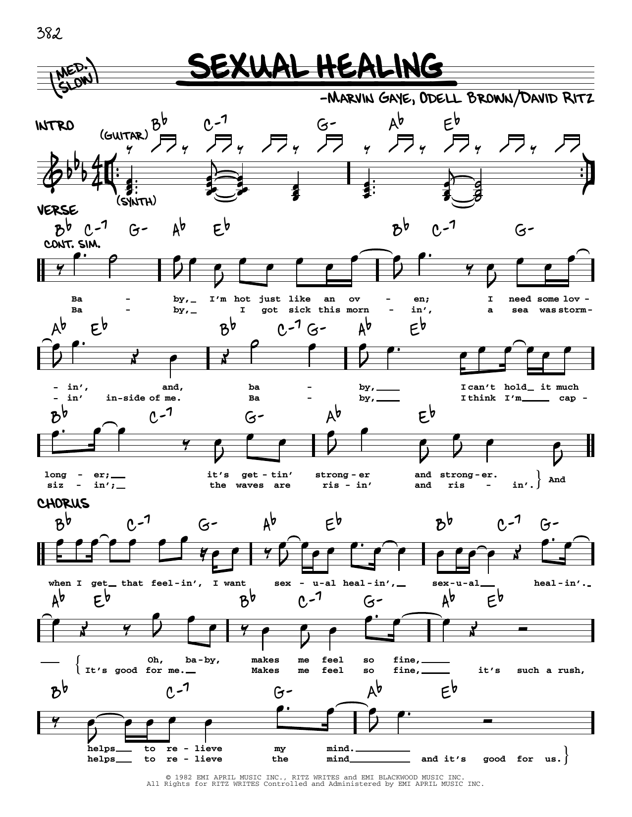 Marvin Gaye Sexual Healing sheet music notes and chords