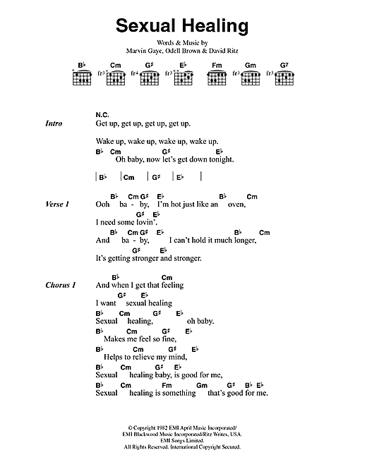 Marvin Gaye Sexual Healing sheet music preview music notes and score for Piano, Vocal & Guitar (Right-Hand Melody) including 11 page(s)