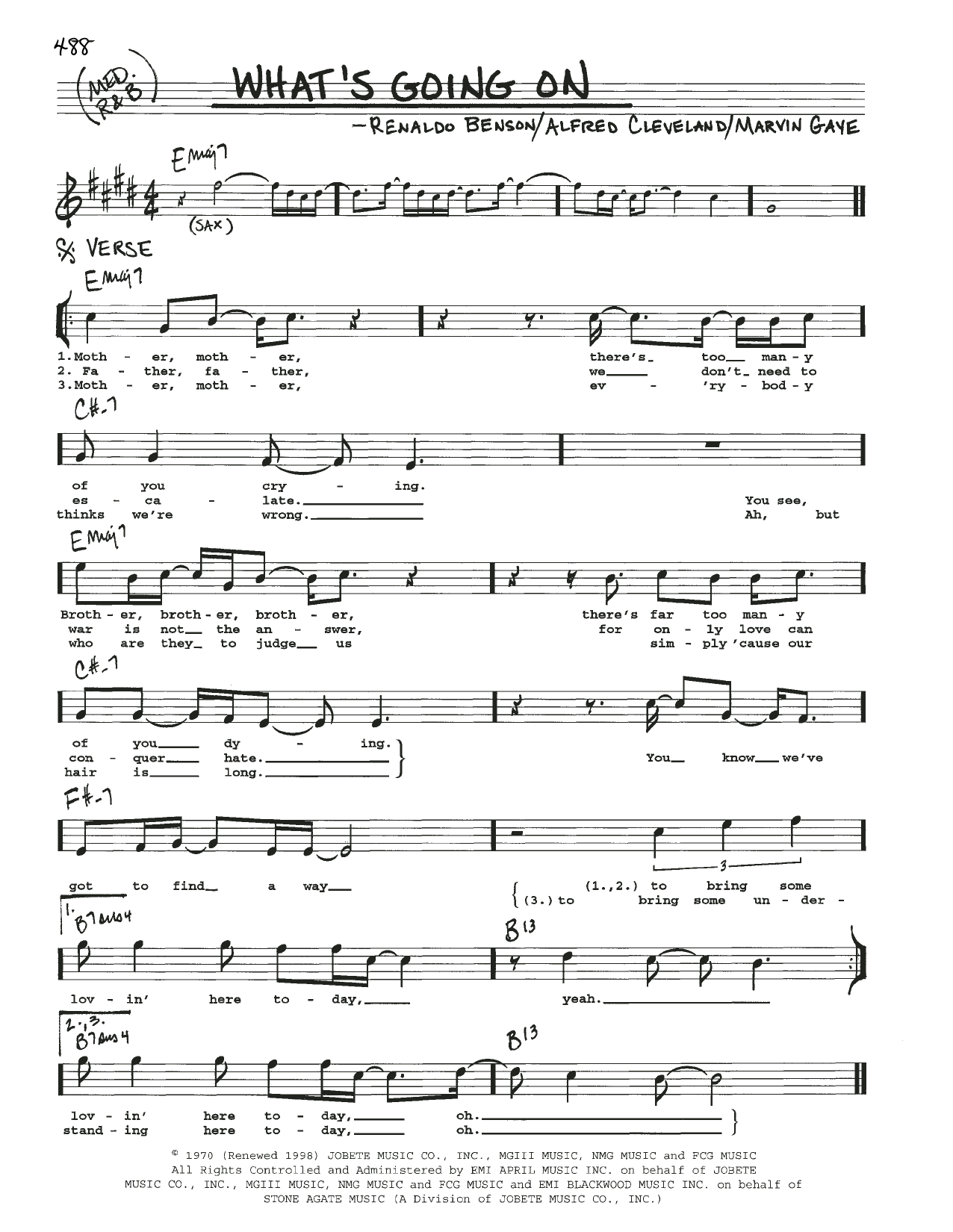 Marvin Gaye What's Going On sheet music notes and chords
