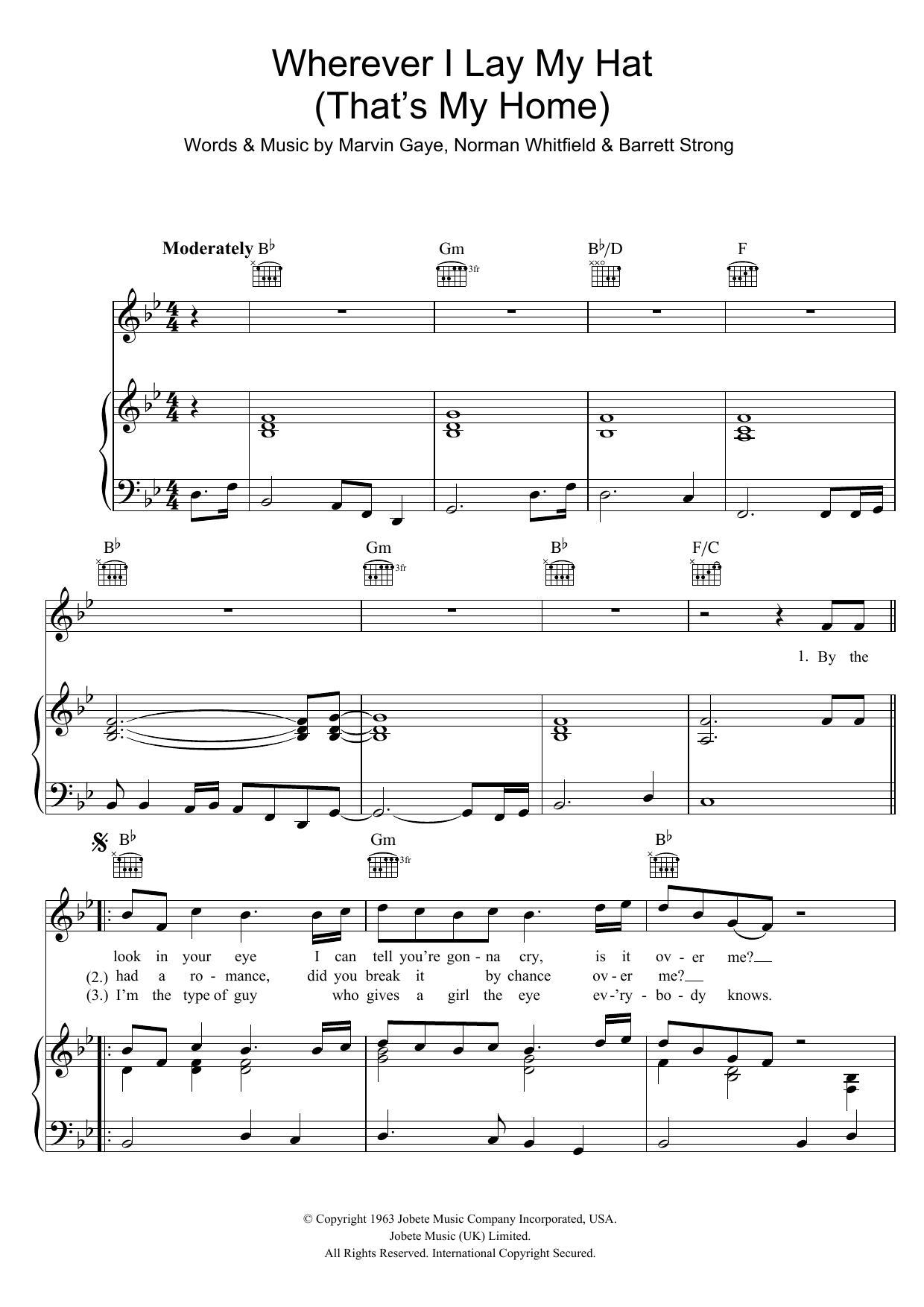 Marvin Gaye Wherever I Lay My Hat (That's My Home) sheet music preview music notes and score for Piano, Vocal & Guitar (Right-Hand Melody) including 4 page(s)