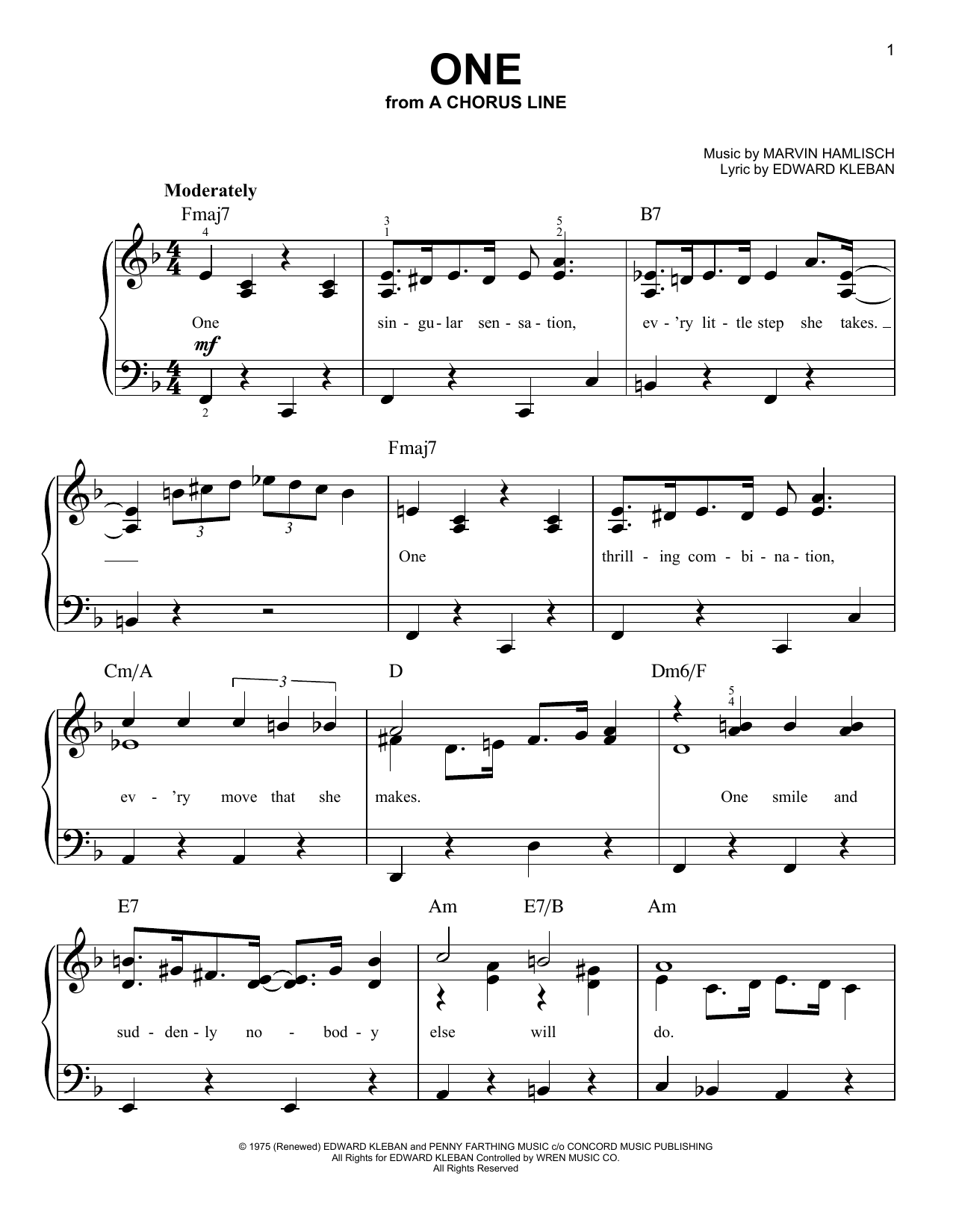 Marvin Hamlisch One sheet music preview music notes and score for Easy Piano including 3 page(s)