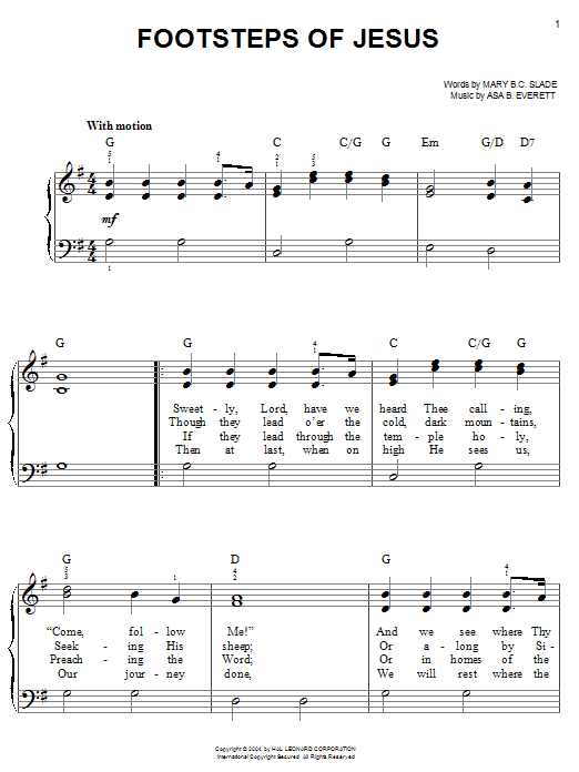 Mary B.C. Slade Footsteps Of Jesus sheet music preview music notes and score for Easy Piano including 2 page(s)