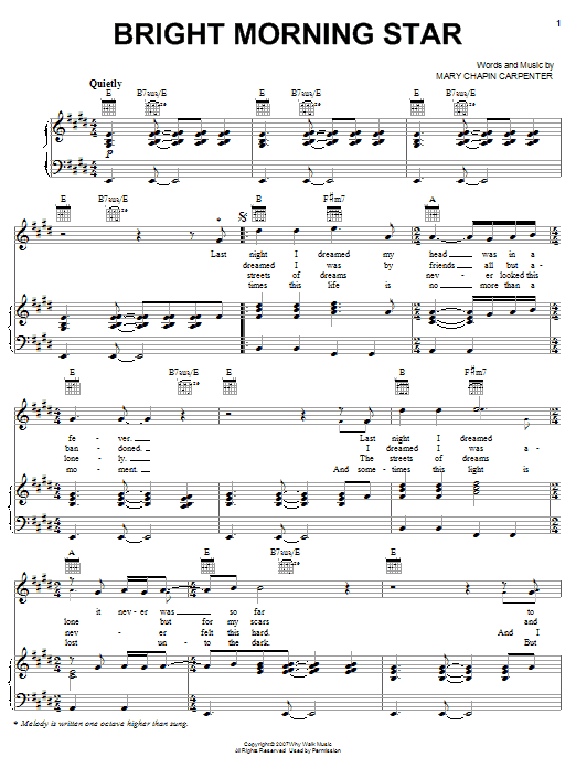 Mary Chapin Carpenter Bright Morning Star sheet music preview music notes and score for Piano, Vocal & Guitar (Right-Hand Melody) including 6 page(s)