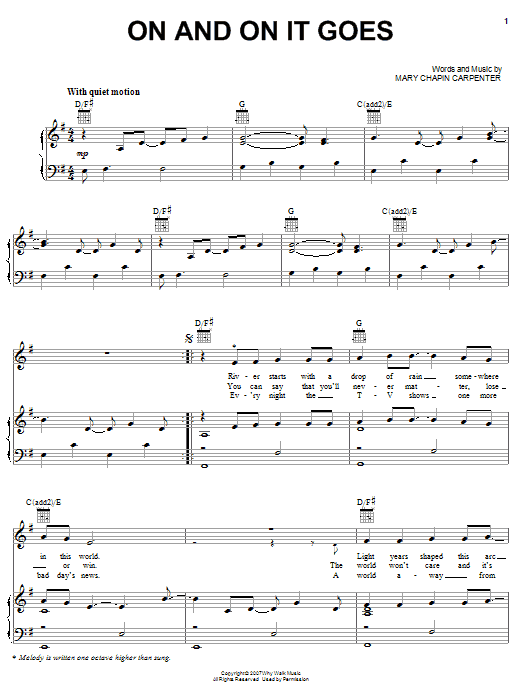 Mary Chapin Carpenter On And On It Goes sheet music preview music notes and score for Piano, Vocal & Guitar (Right-Hand Melody) including 6 page(s)