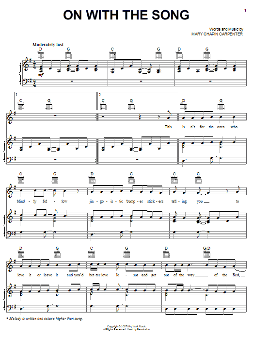Mary Chapin Carpenter On With The Song sheet music preview music notes and score for Piano, Vocal & Guitar (Right-Hand Melody) including 8 page(s)