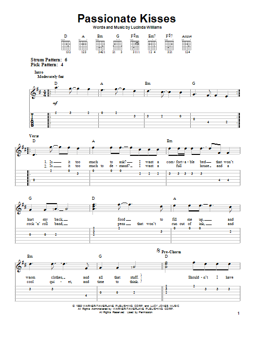 Mary Chapin Carpenter Passionate Kisses sheet music preview music notes and score for Easy Piano including 5 page(s)
