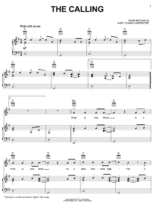 Mary Chapin Carpenter The Calling sheet music preview music notes and score for Piano, Vocal & Guitar (Right-Hand Melody) including 10 page(s)