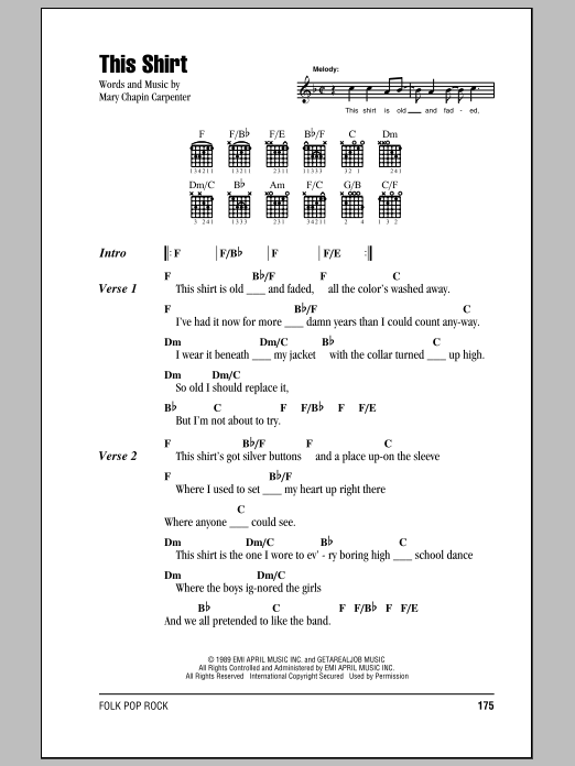 Mary Chapin Carpenter This Shirt sheet music preview music notes and score for Lyrics & Chords including 3 page(s)