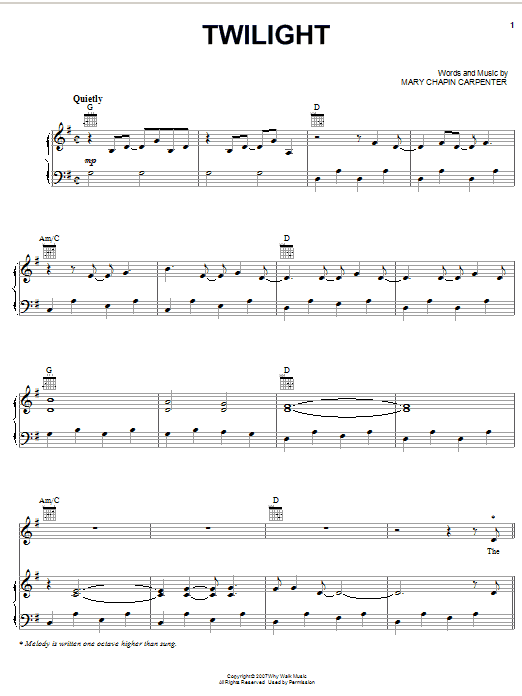 Mary Chapin Carpenter Twilight sheet music preview music notes and score for Piano, Vocal & Guitar (Right-Hand Melody) including 8 page(s)