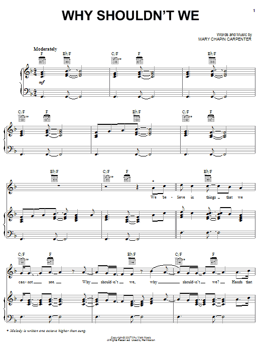 Mary Chapin Carpenter Why Shouldn't We sheet music preview music notes and score for Piano, Vocal & Guitar (Right-Hand Melody) including 8 page(s)
