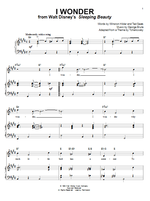 Mary Costa I Wonder (from Sleeping Beauty) sheet music notes and chords