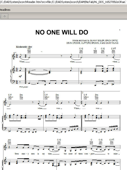 Mary J. Blige No One Will Do sheet music preview music notes and score for Piano, Vocal & Guitar (Right-Hand Melody) including 7 page(s)