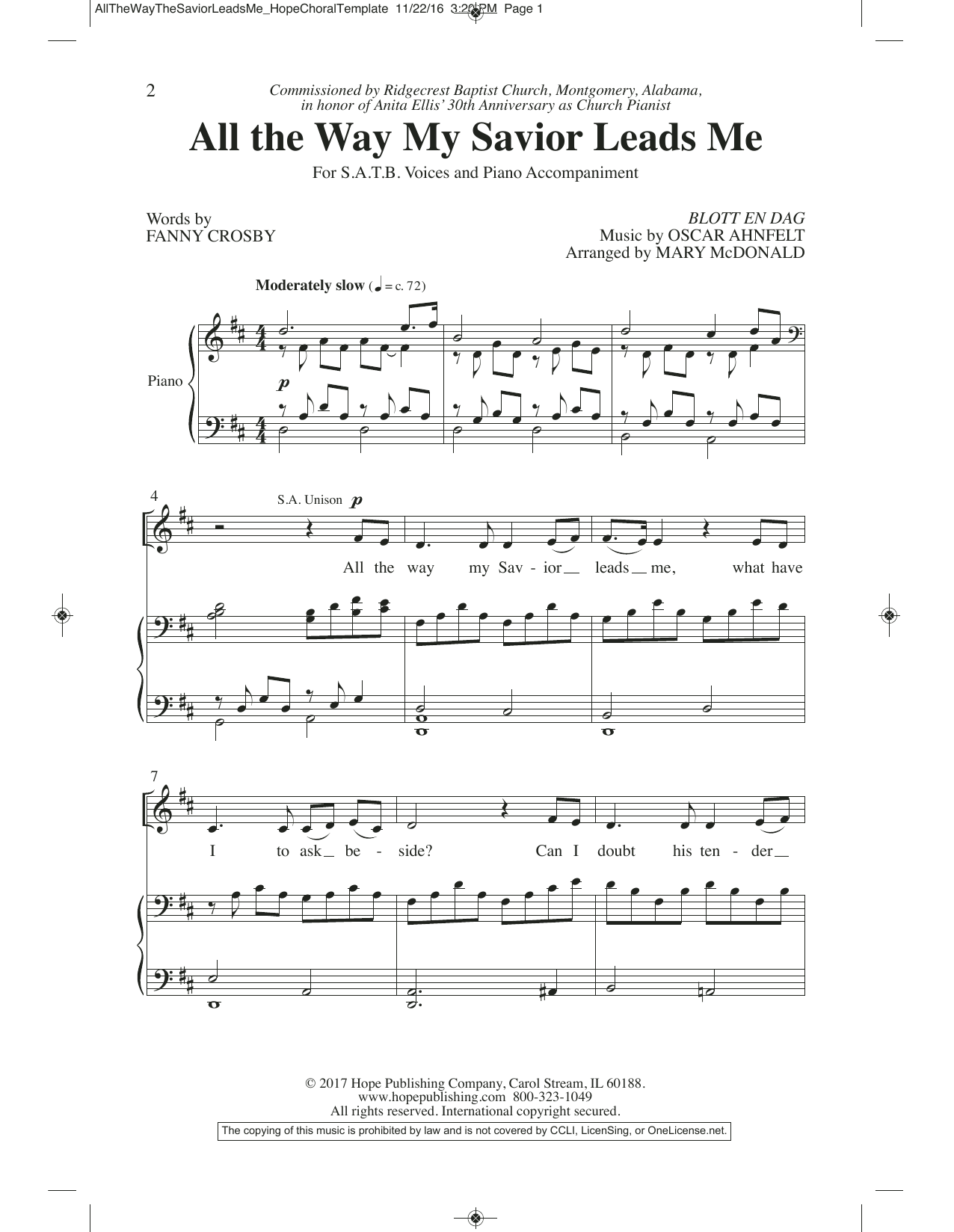 Mary McDonald All the Way My Savior Leads Me sheet music preview music notes and score for SATB Choir including 7 page(s)