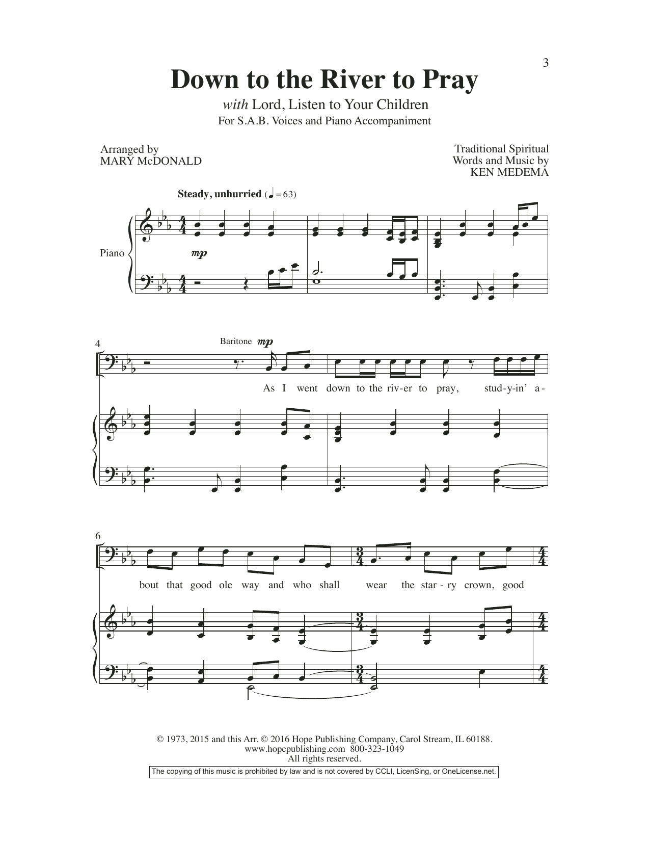 Mary McDonald Down to the River to Pray sheet music preview music notes and score for SATB Choir including 10 page(s)