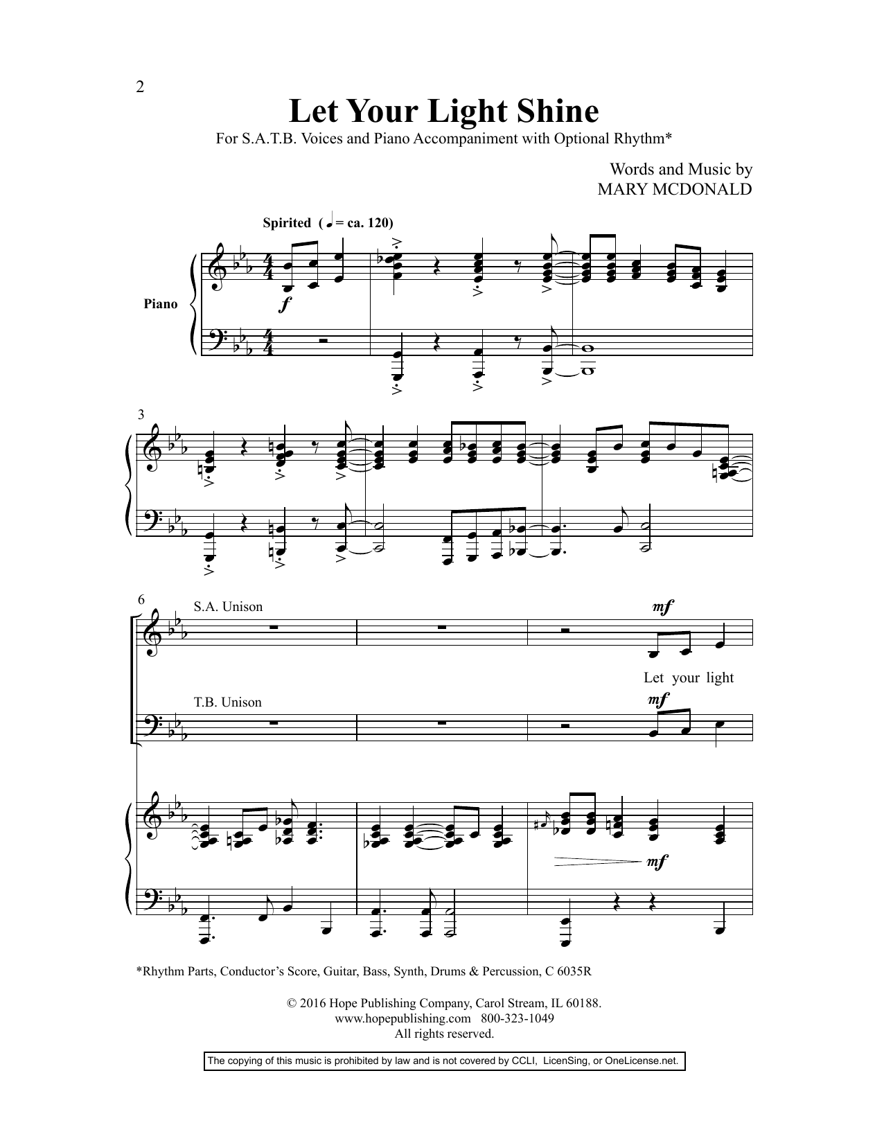 Mary McDonald Let Your Light Shine sheet music preview music notes and score for SAB Choir including 10 page(s)