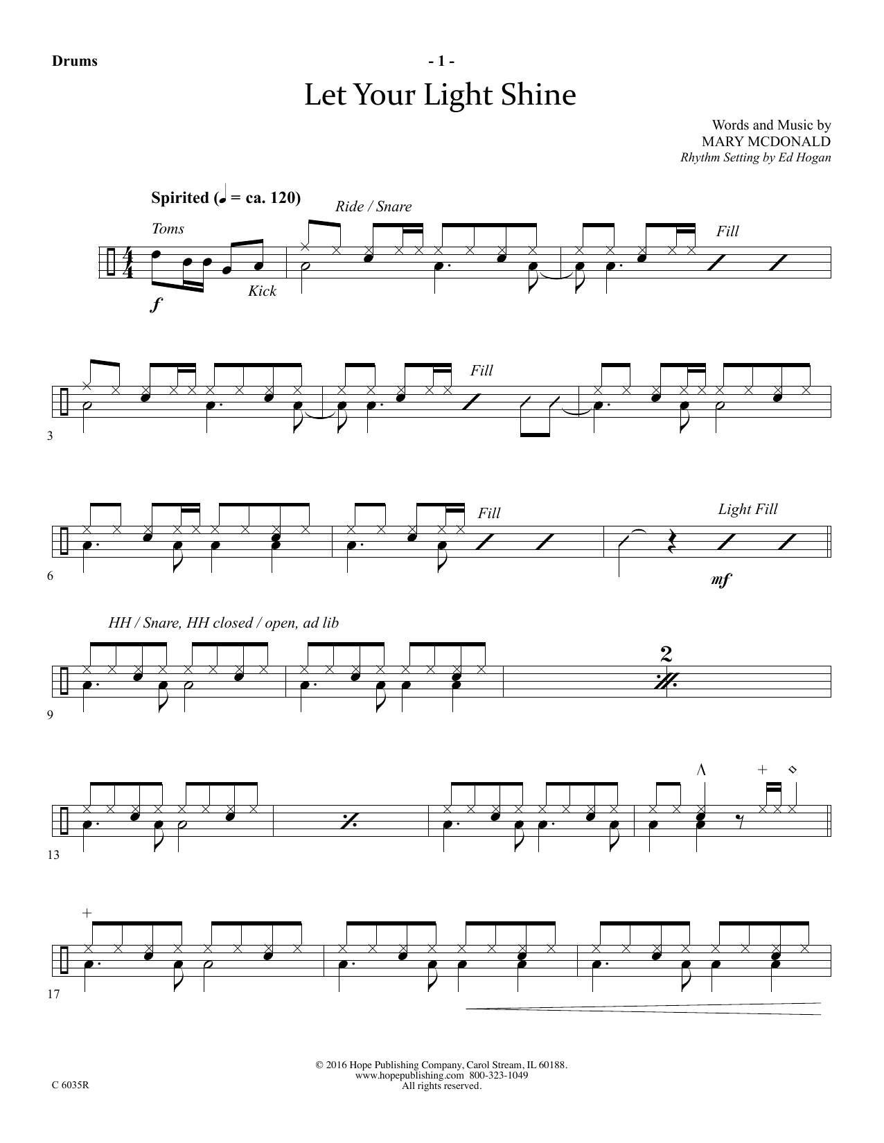 Mary McDonald Let Your Light Shine - Drums sheet music preview music notes and score for Choir Instrumental Pak including 4 page(s)