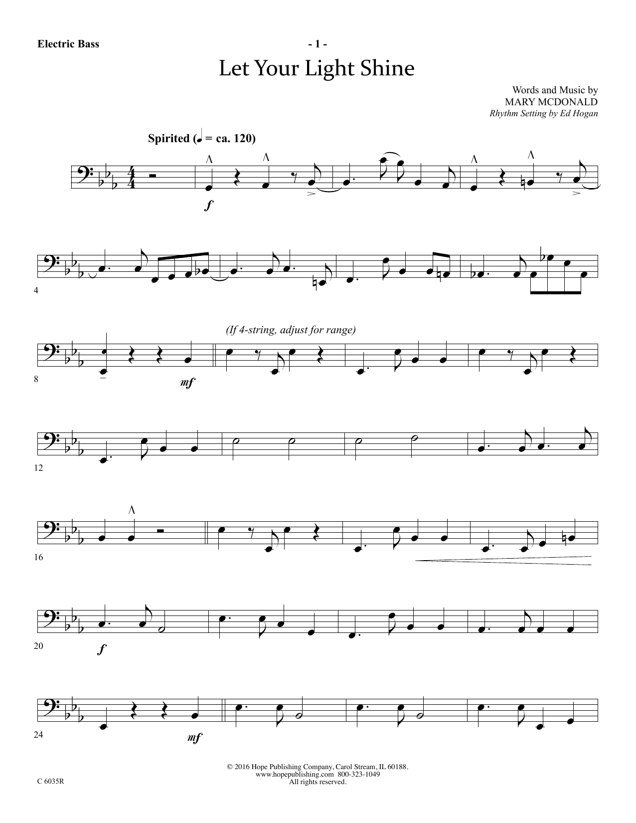 Mary McDonald Let Your Light Shine - Electric Bass sheet music preview music notes and score for Choir Instrumental Pak including 3 page(s)