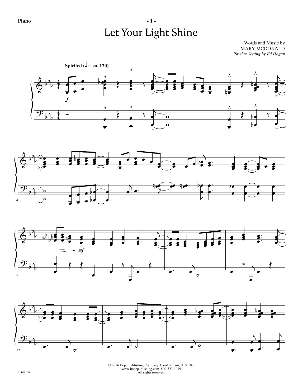 Mary McDonald Let Your Light Shine - Piano sheet music preview music notes and score for Choir Instrumental Pak including 5 page(s)