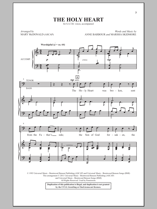 Mary McDonald The Holy Heart sheet music notes and chords