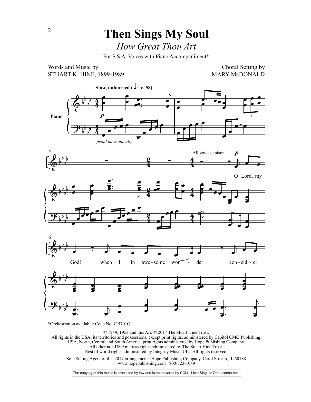 Mary McDonald Then Sings My Soul (How Great Thou Art) (arr. Mary McDonald) sheet music preview music notes and score for SSA Choir including 10 page(s)