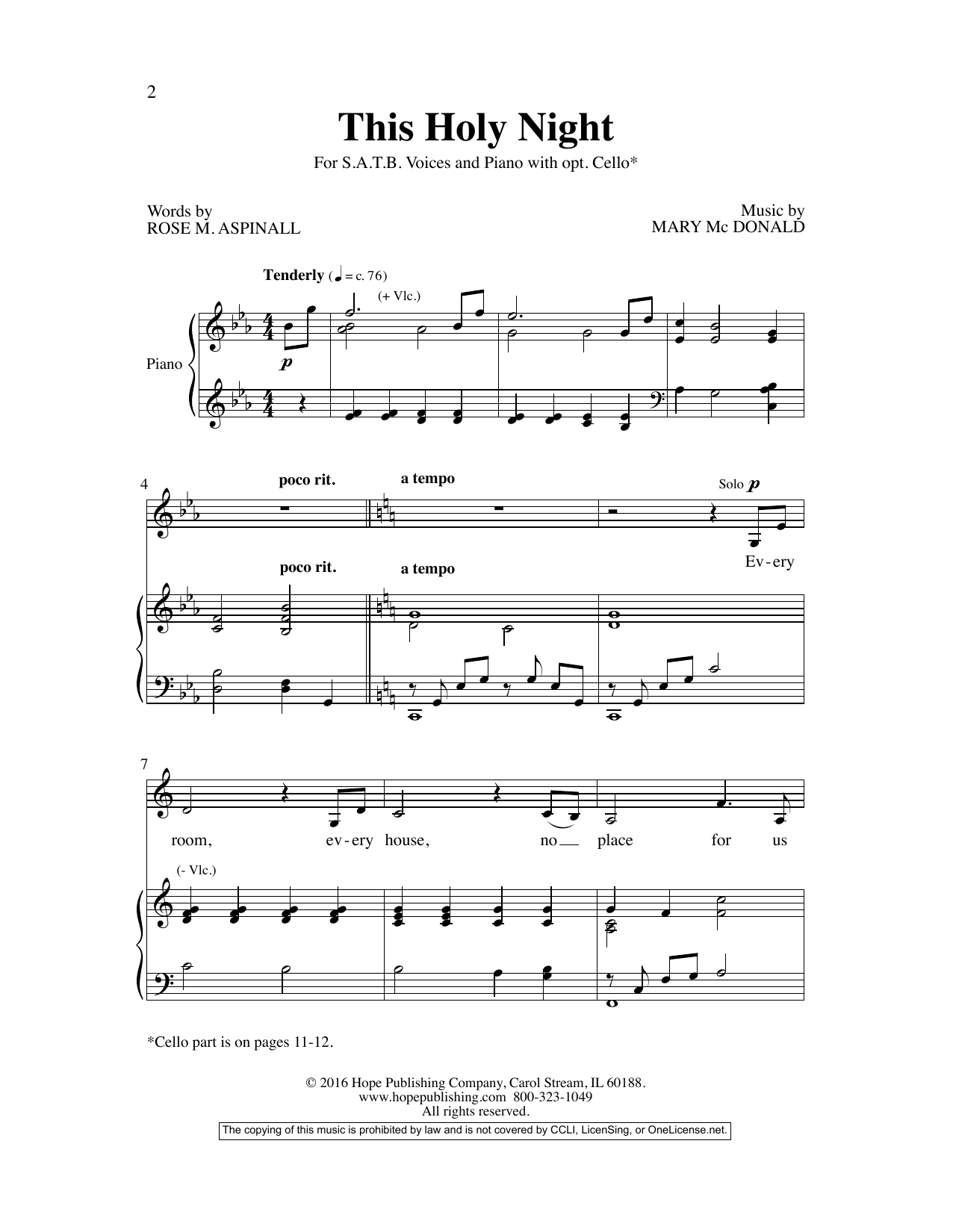 Mary McDonald This Holy Night sheet music preview music notes and score for SATB Choir including 11 page(s)