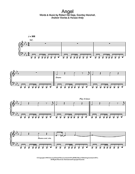 Massive Attack Angel sheet music notes and chords