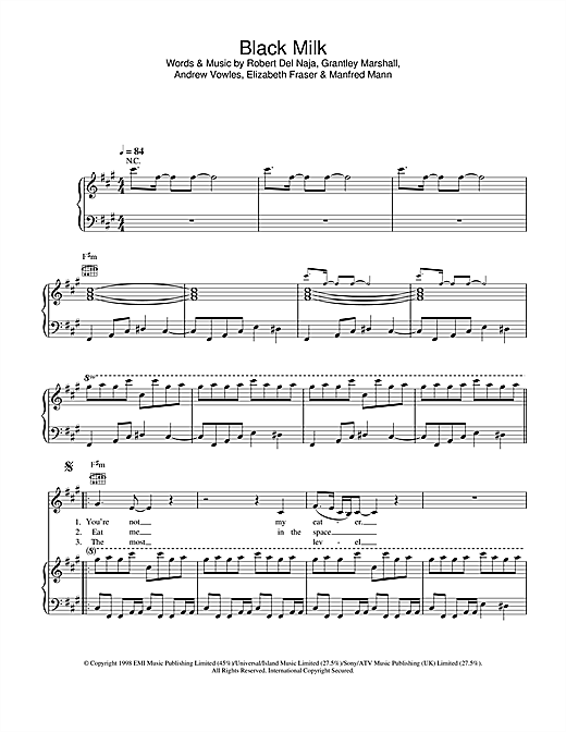 Massive Attack Black Milk sheet music notes and chords