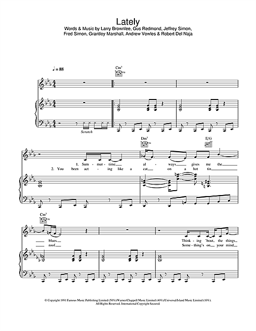Massive Attack Lately sheet music notes and chords
