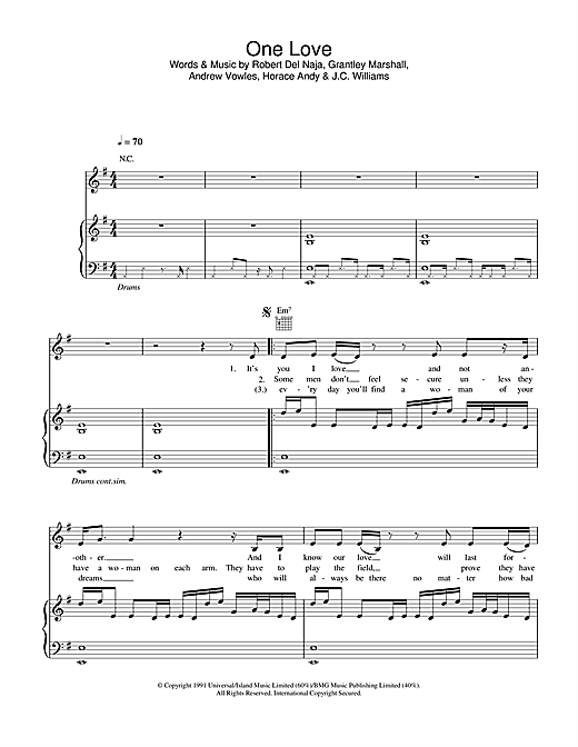 Massive Attack One Love sheet music notes and chords