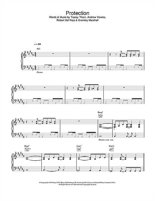 Massive Attack Protection sheet music notes and chords