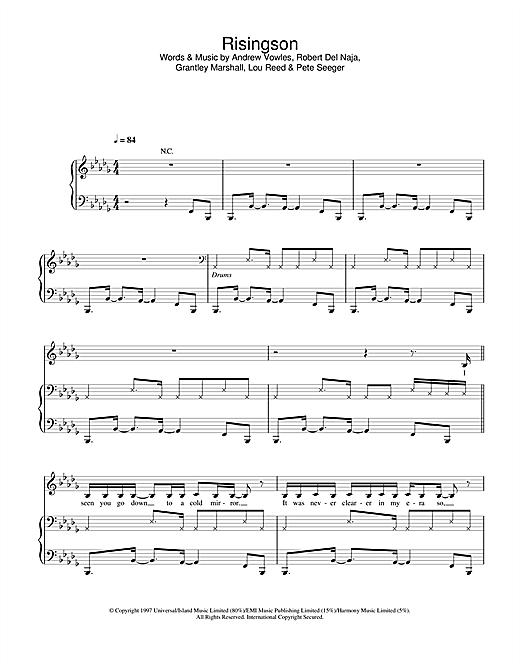 Massive Attack Risingson sheet music notes and chords