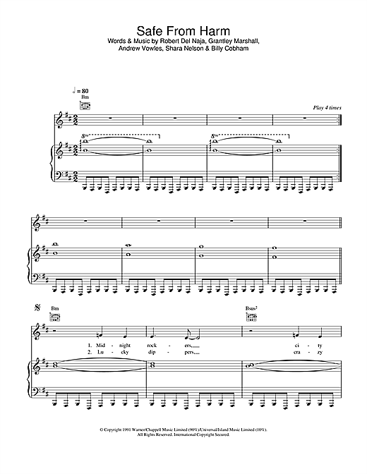 Massive Attack Safe From Harm sheet music notes and chords