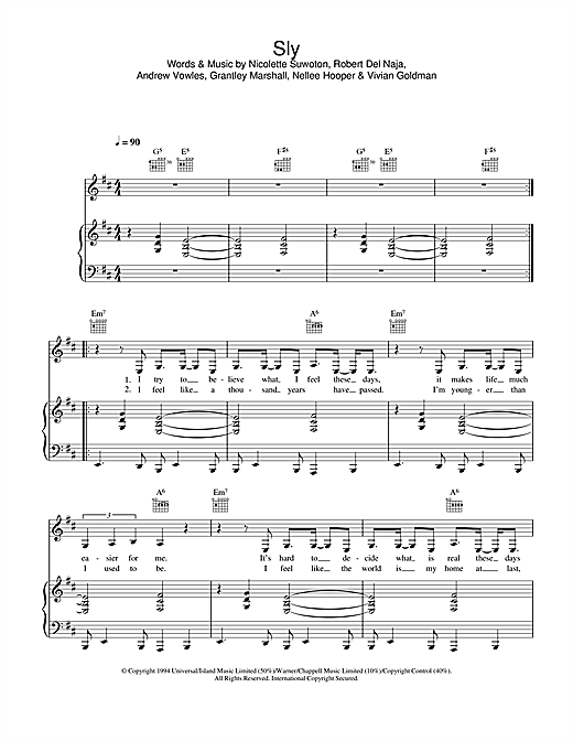 Massive Attack Sly sheet music notes and chords
