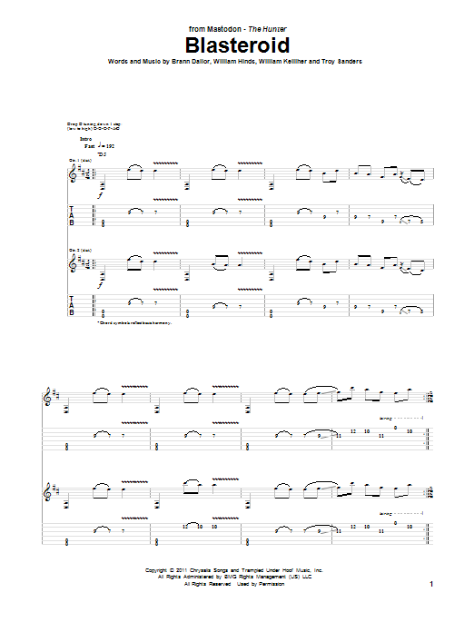 Mastodon Blasteroid sheet music preview music notes and score for Guitar Tab including 6 page(s)