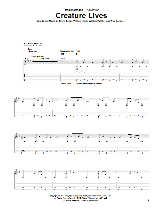 Mastodon Creature Lives sheet music preview music notes and score for Guitar Tab including 5 page(s)