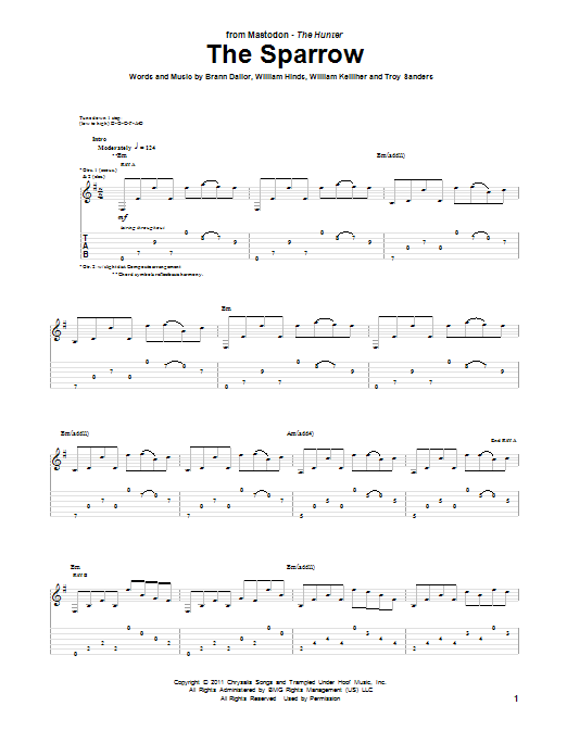 Mastodon The Sparrow sheet music preview music notes and score for Guitar Tab including 12 page(s)