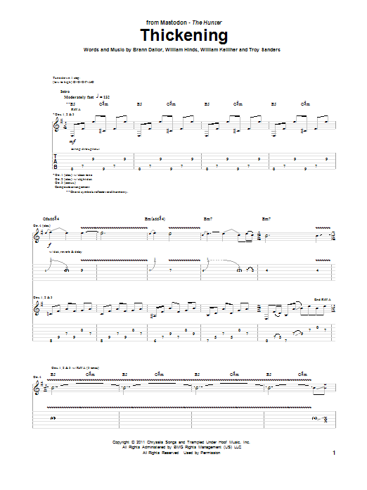 Mastodon Thickening sheet music preview music notes and score for Guitar Tab including 10 page(s)