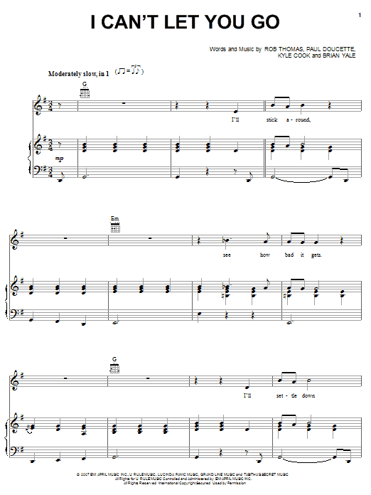 Matchbox Twenty I Can't Let You Go sheet music preview music notes and score for Piano, Vocal & Guitar (Right-Hand Melody) including 8 page(s)