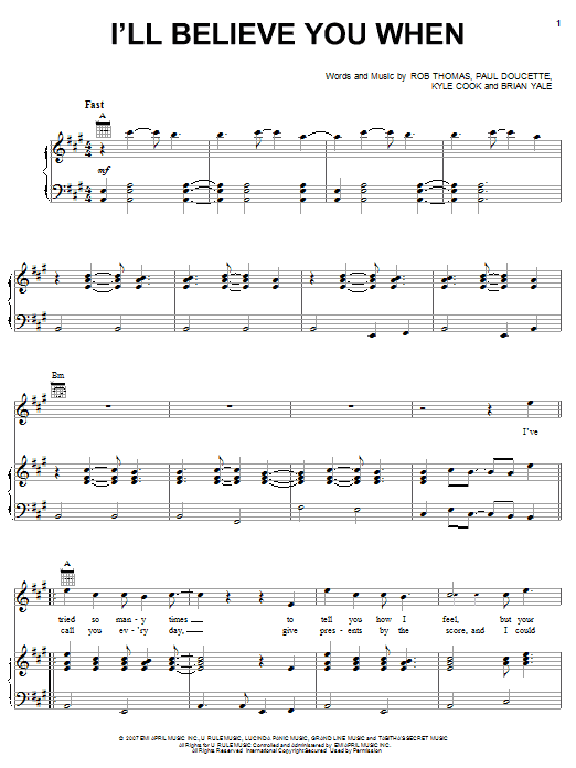 Matchbox Twenty I'll Believe You When sheet music preview music notes and score for Piano, Vocal & Guitar (Right-Hand Melody) including 8 page(s)