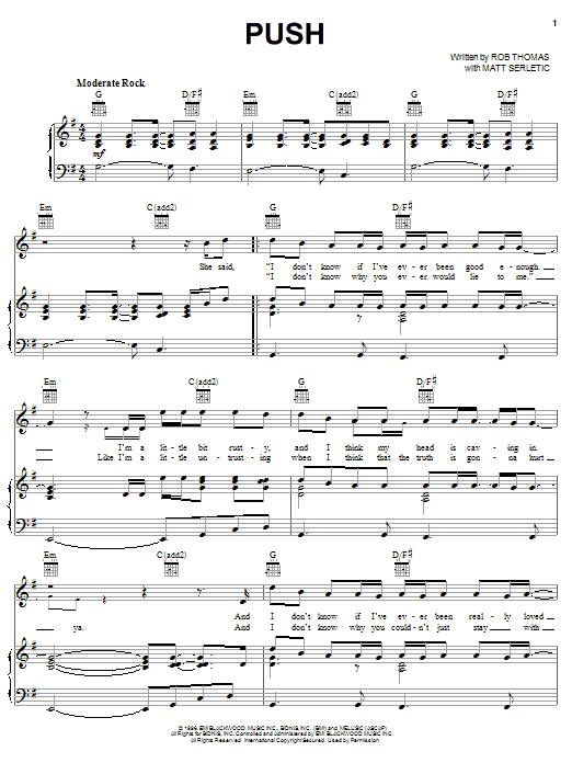 Matchbox Twenty Push sheet music notes and chords