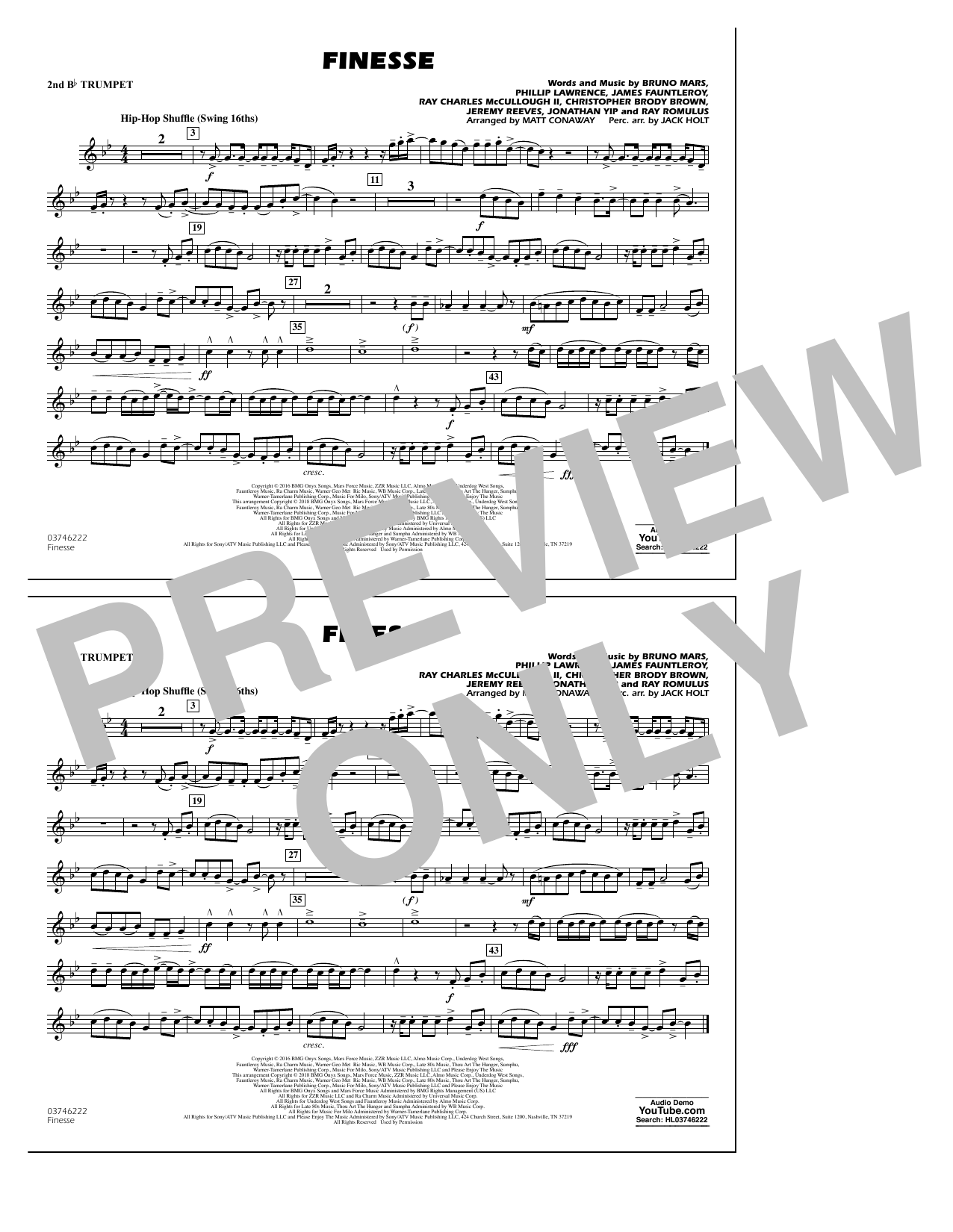 Download Matt Conaway 'Finesse - 2nd Bb Trumpet' Digital Sheet Music Notes & Chords and start playing in minutes